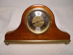 Handsome 10 Long Bulova Quartz Laquerd Wood Table or Desk Clock