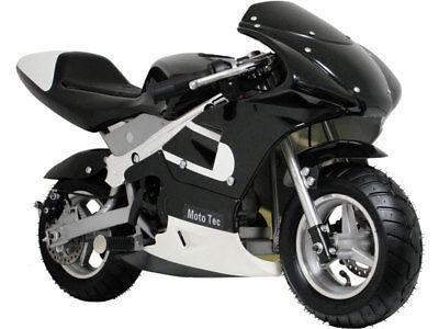 Mototec Gas Pocket Bike 33Cc 2 Stroke   Black Or Blue   Mt Gp