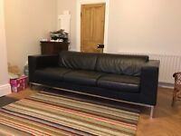 Florence Knoll - Corbusier inspired 3 seater black leather sofa