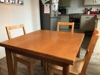 Extendable Dining table & 3 chairs