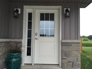 Front door and side window