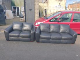 9. 3+2 black leather sofa