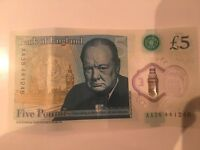 Rare 5 pound note AA38