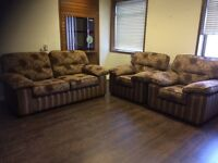 Ex display 2 seater and 2 chairs in floral stripe fabric