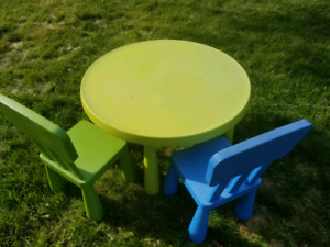 Ikea kids' table and 2 chairs. ( Mamutt series)
