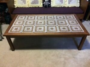 Solid Wood and Ceramic Tile CoffeeTable