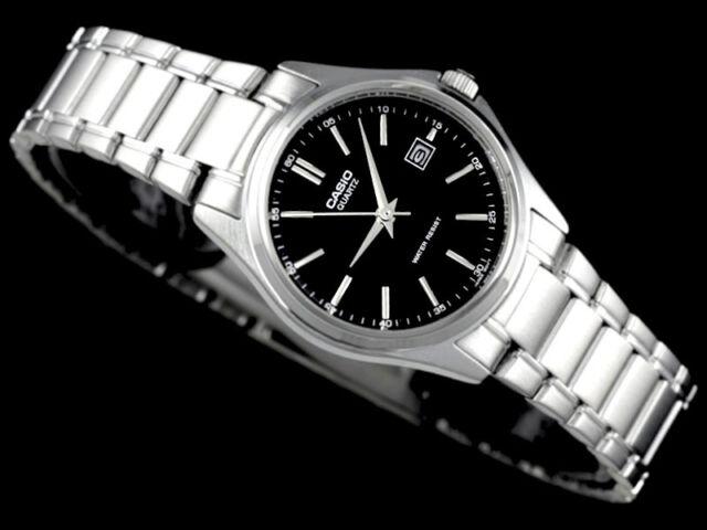 Casio Ladies Black Analog Steel Bracelet Date Display Watch LTP-1183A-1A New