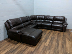 (Free Delivery) - 'Marco' brown leather U-shape sectional