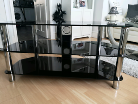 Large black glass corner TV unit