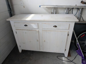Rustic white mission style solid wood buffet