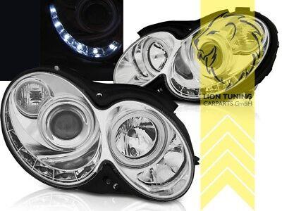 LED Tagfahrlicht Optik Scheinwerfer für Mercedes Benz CLK C209 Coupe Cabri chrom