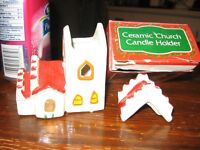 ceramic candle holder (miniature houses)