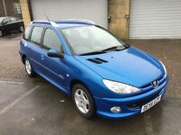 56 reg Peugeot 206 SW 1.4HDi 70 Verve Estate 5 Door Bright Blue metallic £30 tax