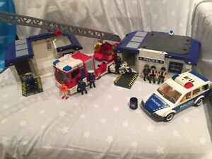 Playmobil Police and Fire Truck Set