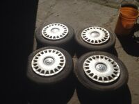 195/65R15 winter tires with rims and VW hubcaps
