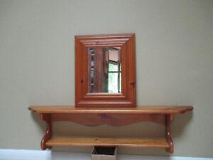 shelf & mirror, pine