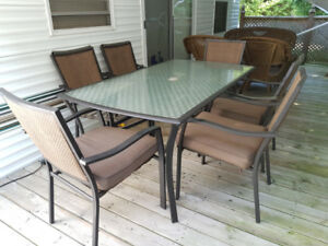 Outdoor patio set with chairs