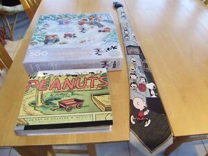 PEANUTS PUZZLE, BOOK, TIE, PIGGY BANK AND MUG