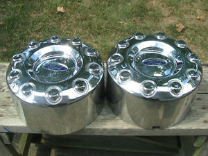 Pair of 2005-16 Ford F450 F550 Dually REAR 10 Lug Center Caps