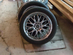 17 inch chrome rims and tires, off of Mazda RX-7, universal fit.