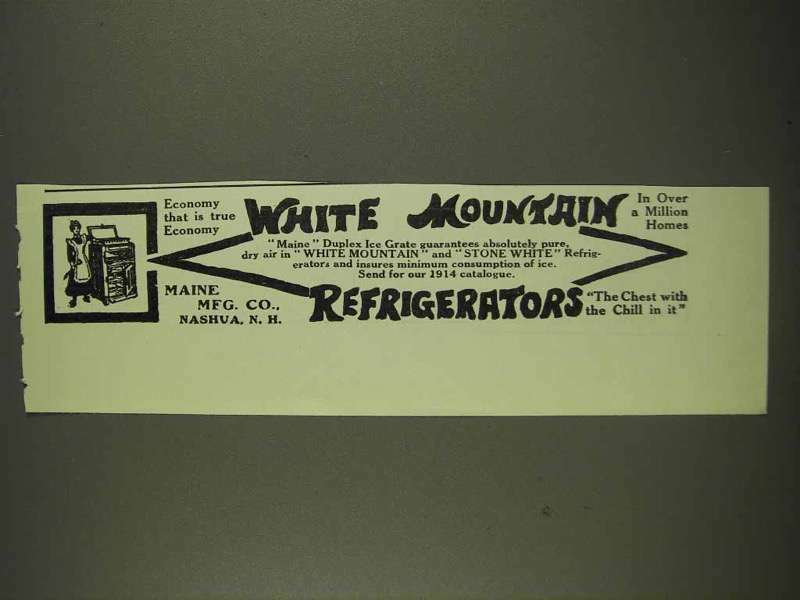 1913 White Mountain Refrigerator Ad - True Economy