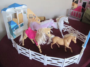 horse stables and horses