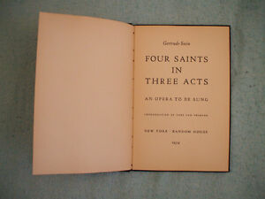 Gertrude Stein - Four Saints in Three Acts - first printing