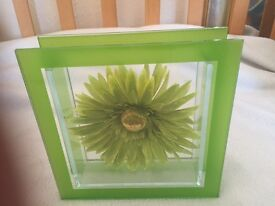 Beautiful lime green glass frame with removable flower and matching candle holder. Bargain!