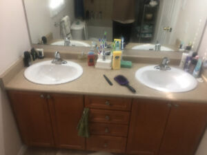 "Countertop 65"", double sink, all side splash two Faucets"