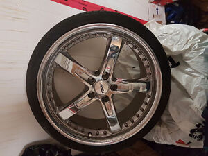 "19"" chrome tsw on rubber. 5/112 bolt pattern"