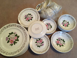 big set of heavy dinnerware