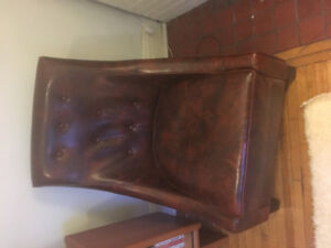Brown leather modern accent slipper chair