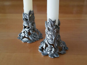 Ornate Pewter Candle Holders