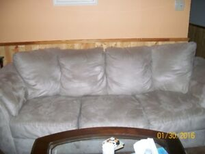 Beige microsuede couch