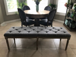 NEW Bench - Grey Upholstery - French Reproduction