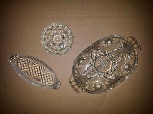 Glass Plates / Bowls / Trays . Old Fashioned . Antique .Exc Cond