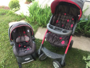 pink evenflo car seat and stroller travel system