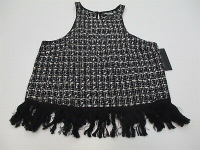 new FASHION UNION T6968 Women's Size S Embroidered Tweed Black Fringe Blouse Top