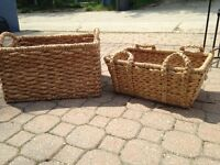 Large and medium rattan baskets