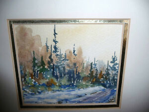 "Myrna Wilkinson ""Winter Shadows"" Original Small Watercolor Stratford Kitchener Area image 2"