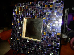 Cool Tiled Mirror with Iron Stand