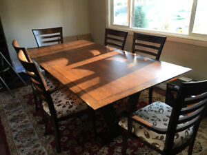 High end Solid wood dining table with 8 chairs, gorgeous