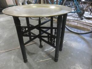 1 ANTIQUE CHINESE SIDE TABLE WITH LARGE BRASS TOP REMOVABLE