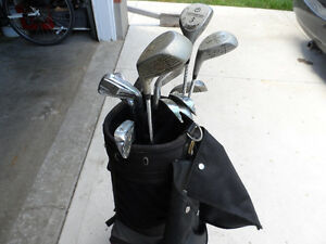rh golf clubs, bag, and cart