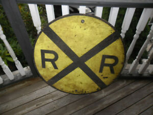 Wooden Railroad Crossing Sign 1950's Round Wood