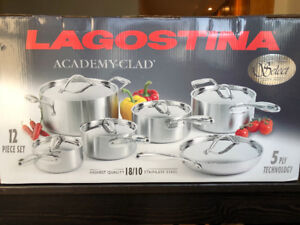 Unopened Lagostina Academy Clad 18/10 Stainless Steel 12pc set
