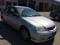 2004 Honda Civic Lx Coupe,Safety e test,1yr warranty included