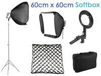 60cm x 60cm Portable Speedlight Flash Softbox Diffuser with Grid and Metal Mount + Case - NEW