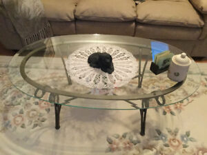 Glass wrought iron coffe table