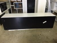 Floating TV Cabinet In White with Black Gloss Door